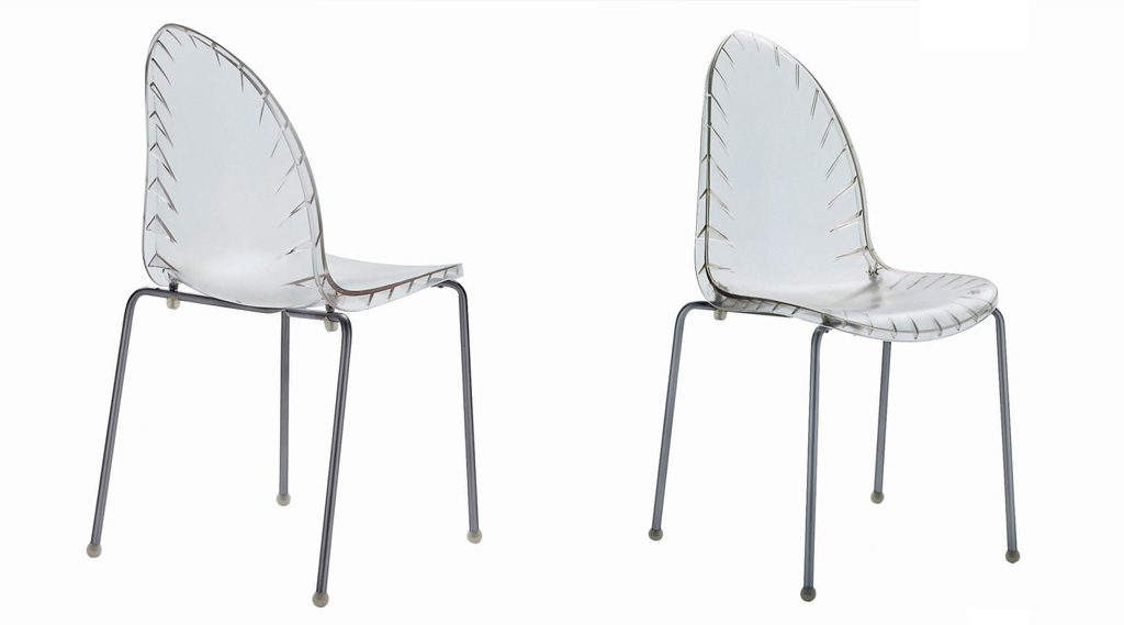 Lanceolata Stacking Chair, Polycarbonate Version. Des: Platt&Young Production: Driade, Italy