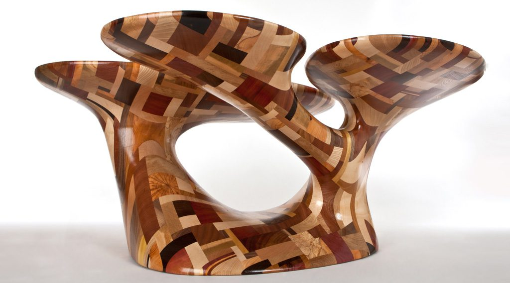Palombaggia Mixed Hardwood Sculptural Table. Production: YSP UK