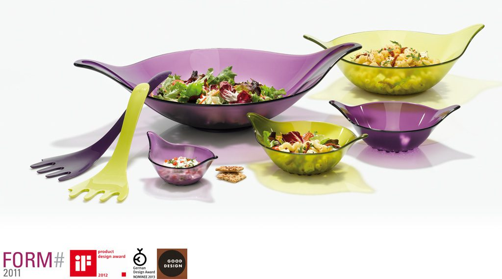 Leaf Salad Bowl with integrated Servers. Production: Koziol, Germany